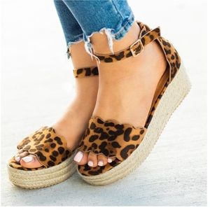 Shoes - 5⭐️LEOPARD SUEDE ESPADRILLES WEDGES- Sandal